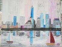 Stadt, Fantasie, Abstrakte malerei, Skyline