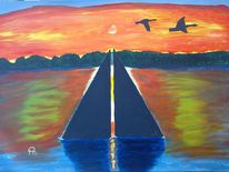 See, Landschaft, Sonnenuntergang, Abstrakte malerei