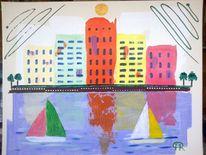 Abstrakte malerei, Stadt, Meer, Landschaft