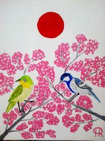 Abstrakte malerei, Vogel, Acryl auf pappe, Malerei