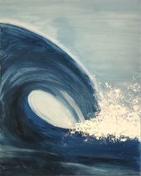 Malerei, Blau, Acrylmalerei, Welle