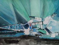 Eisen, Ferropolis aquarell, Tagebaugroßgeräte aquarell, Stadt