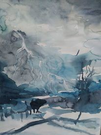 Malerei, Menschen, Landschaft malerei, Aquarellmalerei