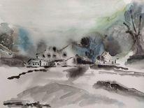 Aquarellmalerei, Grau, Landschaft malerei, Blau
