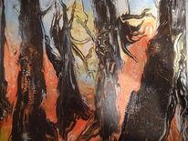 Fantasie, Acrylmalerei, Orange, Abstrakt