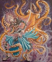 Krake, Acrylmalerei, Kämpfer, Violett