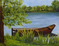 Landschaft, See, Boot, Acrylmalerei