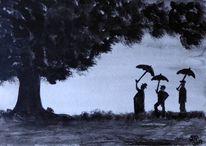 Menschen, Aquarellmalerei, Natur, Malerei