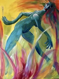 Malerei, Akt, Farben, Feuer