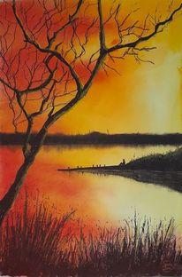 See, Feuerhimmel, Baum, Abendlicht