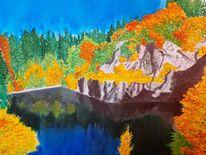 Berge, Herbst, See, Aquarell