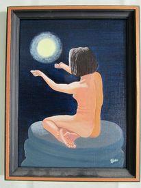 Frau, Mond, Licht, Nacht
