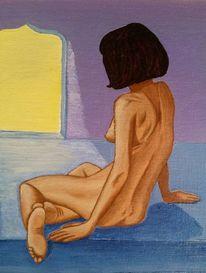 Frau, Rücken, Akt, Malerei
