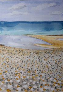 Normandie, Strand, Kieselsteine, Alabasterküste