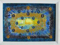 Abstrakt, Symbol, Blau, Braun