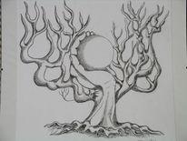 Kugel, Hand, Baum, Zeichnungen