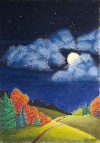 Mondschein, Baum, Wolken, Hügel