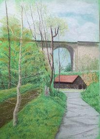 Flussufer, Brücke, Weg, Malerei