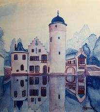 Winter, Turm, Aquarell,