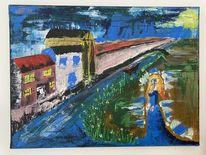Haus, Kunst landschaftsmalerei, Frau, Fluss