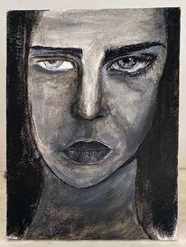 Abstrakte kunst, Gemälde, Frauengesicht, Zeichnen