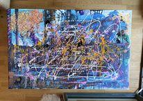 Acrylmalerei, Abstrakt, Winterlandschaft, Weiß