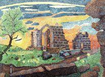 Pixelart, Ruine von altenstein, Vergänglichkeit, Aquarell