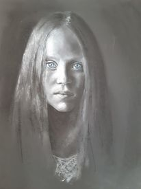 Pastellmalerei, Mädchen, Portrait, Zeichnungen