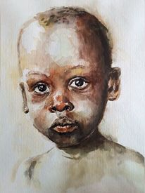 Aquarellmalerei, Afrika, Portrait, Kind