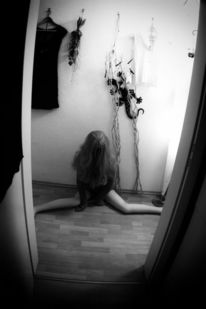 Flur, Depression, Einsamkeit, Frau