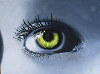 Grün, Menschen, Augen, Malerei
