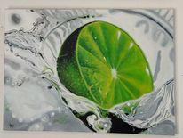 Wasser, Platsch, Limetten, Malerei