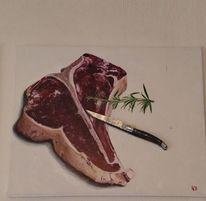 Rosmarin, Steak, Messer, Malerei