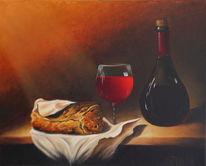 Weinflasche, Korken, Ölmalerei, Tüte