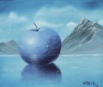 Apfel, Wasser, Landschaft, Malerei