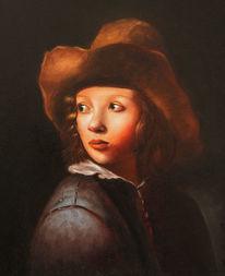 Junge, Ölmalerei, Studie, Hut