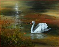 Natur, Weiß, See, Ölmalerei