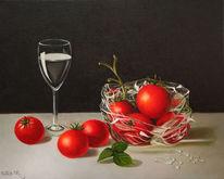 Ölmalerei, Tomate, Schwarz, Stillleben