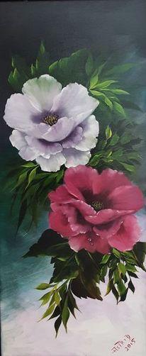 Blätter, Ölmalerei, Blumen, Stillleben