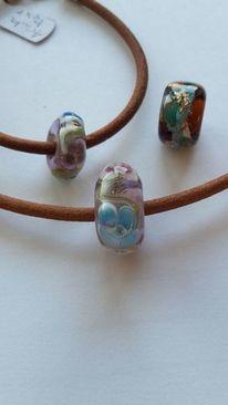 Glasschmuck, Ohrringe, Olivenholz mit muranoglas, Handgefertigter glasschmuck