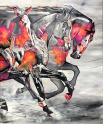 Pferde, Pink, Kunstpreis, Acrylmalerei