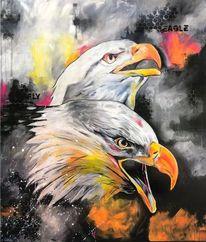 Weißkopfseeadler, Weiß, Abstrakt, Acrylpainting