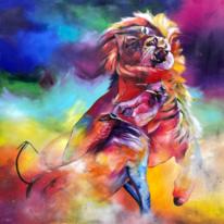Wildschwein, Acrylmalerei, Bunt, Löwe
