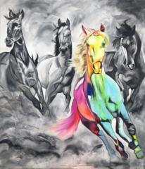 Pferde, Acrylmalerei, Pferdeherde, Acrylpainting