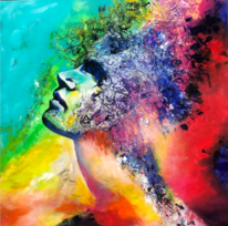 Acrylpainting, Gesicht, Fantasie, Acrylmalerei