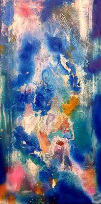 Blau, Abstrakt, Acrylmalerei, Malerei