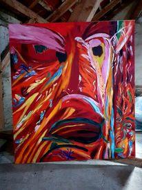 Cernunnos, Abstrakt, Rot, Malerei