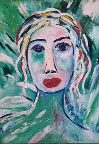 Frau, Grün, Abstrakt, Malerei