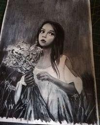Einsamkeit, Portrait, Blumen, Zeit
