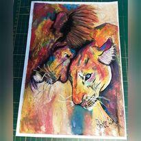 Tiere, Pastellmalerei, Zusammenhalt, Löwe